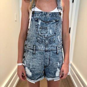 Denim - Acid Wash Overall Jean Shorts